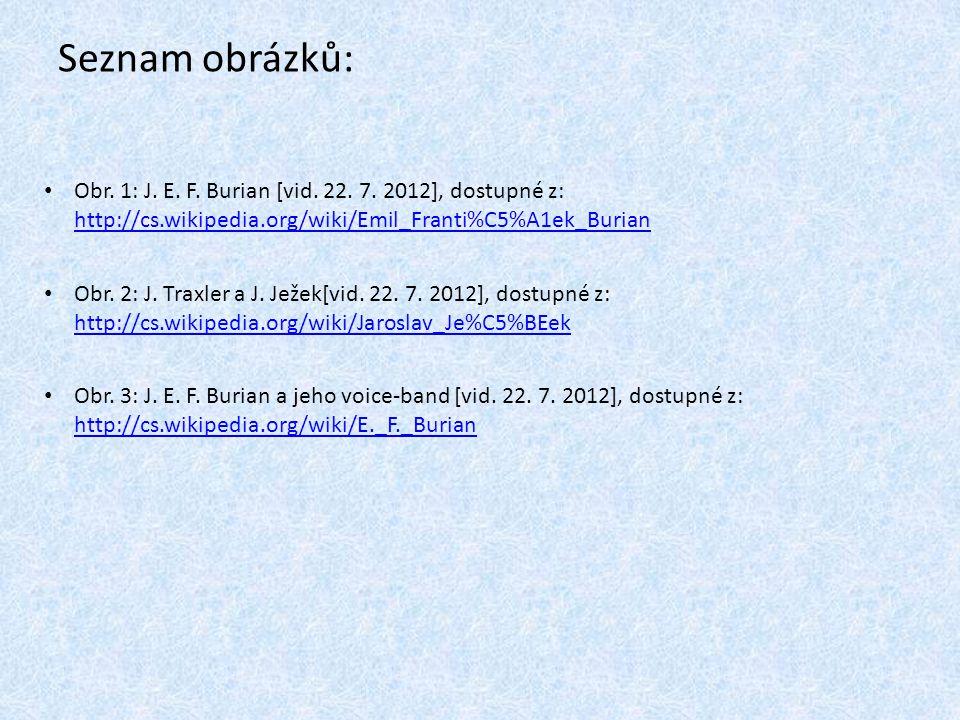 Seznam obrázků: Obr. 1: J. E. F. Burian [vid. 22. 7. 2012], dostupné z: http://cs.wikipedia.org/wiki/Emil_Franti%C5%A1ek_Burian.